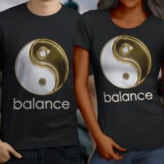 Yin Yang Balance T-Shirt,  Men's/Unisex or Ladies Tee's Starting at 15.50 #AriesTee