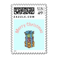 Merry Christmas Presents Custom Postage Stamp