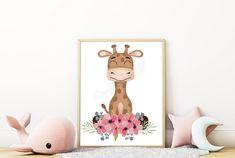 Safari animals wall art – giraffe PDF Safari Nursery, Nursery Prints, Wall Art Prints, Watercolour Flowers, Watercolor, Large Paper Flowers, Cute Giraffe, Safari Animals, Vixen