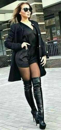 Women in thigh high boots Thigh High Boots Heels, Sexy High Heels, Heeled Boots, High Leather Boots, Sexy Boots, Sandro, Thigh Highs, Over The Knee Boots, Nylons