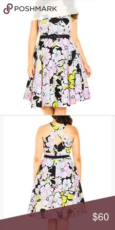 NWT 20 Plus size floral belted dress City chic L ( 20 plus size) classic fit & flare shape is sure to cinch in your waist and highlight those beautiful curves. Comes with belt!!   Key Features Include: - Soft V neckline  - Wide shoulder straps and cross over back feature - Invisible side zipper fastening  - Detachable belt buckle fastening with elasticized back panel  - Flared, A-line, midi-length skirt  - Luxurious satin feel lining - Soft tulle skirt underlay for added fullness City Chic…