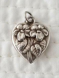 Vintage Sterling Silver Puffy Heart Charm February Birthday Flower Violets | eBay