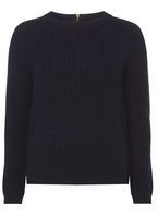 Womens Navy Jumper with Gold Zip- Blue