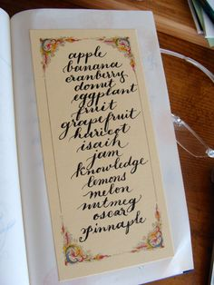 """Just practicing my lower case lettering with calligraphy """"fruit"""" and italian paper"""