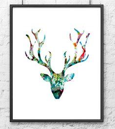 Giclee art print - Watercolor painting blue deer - Watercolor art print…