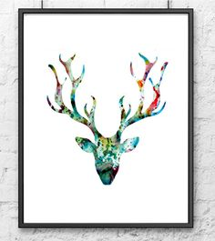 Deer Art Print - Watercolor painting blue deer - Watercolor art print - Watercolor animal painting