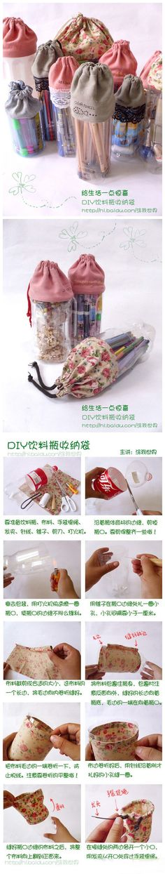 recycle bottles/containers with drawstring tops