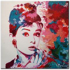 Acryl Schilderij van Audrey Hepburn, filmster uit de jaren 50, door Zenon. - Kunstvoorjou.nl #kunstvoorjou #audreyhepburn #schilderij