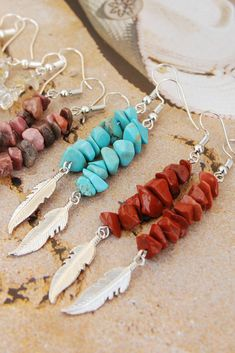 Feather charm earrings Raw stone jewelry Long earrings Boho dangle earrings Amethyst/ Citrine/ Turquoise/ Rhodonite/ Red Jasper Your choice Raw Stone Jewelry, Crystal Jewelry, Handmade Necklaces, Handmade Jewelry, Hippie Styles, Etsy Handmade, Handmade Gifts, Red Jasper, Turquoise Color