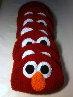 Hey, I found this really awesome Etsy listing at http://www.etsy.com/listing/105203009/set-elmo-birthday-party-crochet-beanie