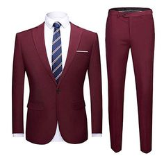 HSLS Mens Three Piece Wedding Suits Slim Fit Single Breasted Groom Tuxedos