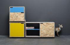 Pixel Cupboard, Derelict Furniture by Tõnis Kalve & Ahti Grünberg Recycled Furniture, Fine Furniture, Wood Furniture, Furniture Design, Crate Shelves, Hanging Shelves, Wood Shelves, Osb Wood, Rack Design