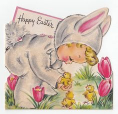 "See my other listings for more Vintage Greeting Cards. Bunny suit is flocked. ""A Hallmark Card"" 1949. 1 card = $1.00 plus 20 cents for each additional card (up to 9) Buy 10 or more cards and shipping isfree."