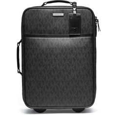 Michael Kors Logo PVC Rolling Suitcase (£650) ❤ liked on Polyvore featuring bags, luggage, bolsa, malas and suitcase