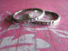 ONE Hand Stamped Mothers Ring With Name by PeaceofMind on Etsy, $25.00  Someone please tell Jason that I want these for Mother's Day!