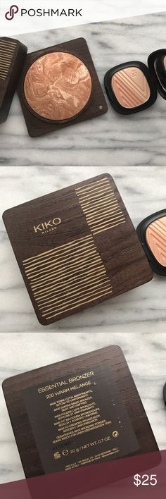 Bundle Kiko Bronzer and Highlighter Kiko Cosmetics Essential Bronzer in 200 Warm Melange and Design Flower Enriched Higlighter both from LE collections. Swatched just once for a blog post so like new. Both come without a box. Kiko Makeup Bronzer