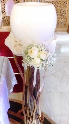 λευκή γυάλα κερί σε θαλασσόξυλο Easy Wedding by Fey's Style