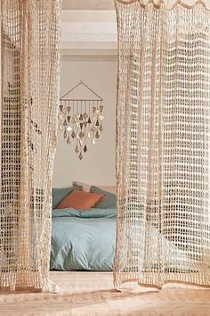 Joni Net Window Curtain, Home, Curtains, Home Decor, Bedroom, Bedroom Decor, Bedding, Bed Set, Boho, Boho Decor, Hippie, Gypsy, Neutral, Let light in with this airy curtain we love. Complete with a tie-top so it's ready to hang from any curtain rods.