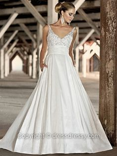 Ball Gown Spaghetti Straps Satin Floor-length Ivory Beading Wedding Dresses -$261.39
