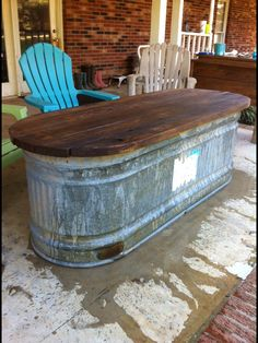 Water trough turned into a table