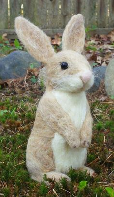 Bunny needle felted handmade wool rabbit by WildThingsMaine