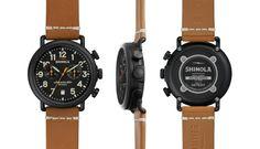 Shinola The Runwell Chronograph Black Dial Watch Leather Bracelet, 41mm