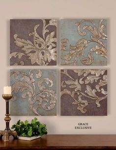 """Misty Damask wall plaques set of 4. French flourishes in antique silver finish. 20x20"""" each. Reflects light differently from every angle, so this piece is ideal to link other cool metal tones together."""
