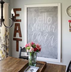 Make this Easy DIY giant magnetic chalkboard with just a few tools and a little bit of time. Perfect for writing inspirational messages! Chalkboard Wall Playroom, Make A Chalkboard, Magnetic Chalkboard, Make Chalk Paint, Kids Play Spaces, Big Girl Rooms, Do It Yourself Home, Plates On Wall, Room Inspiration