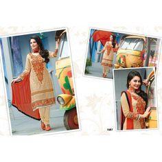 Delightful Cream Georgette Salwar Suit