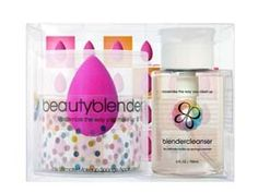 Beauty Blender Single Sponge & Cleanser Combo. wet and roll onto foundation to push into skin