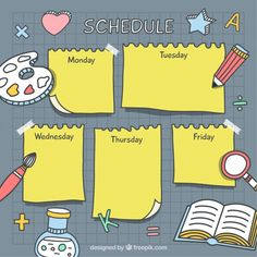 Hand drawn school timetable with drawings Free Vector Kids Planner, Study Planner, To Do Lists Printable, Printable Planner, Timetable Template, Notes Template, Weekly Planner Template, Schedule Templates, School Timetable