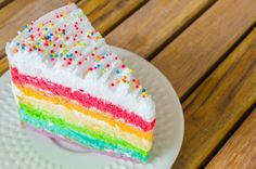 """""""Rainbow cake in white dish on wood table"""" - Cake Stock Photos from Go Graph Cake Recipes, Dessert Recipes, Cake Stock, Rainbow Birthday, Cake Rainbow, Rainbow Pastel, Rainbow Dash, Sweet Bakery, Cute Desserts"""