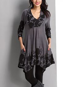 Loving this Charcoal Floral Shawl Collar Handkerchief Dress on #zulily! #zulilyfinds