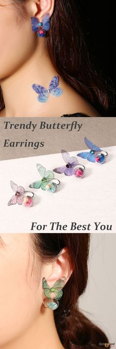 US$5.99+Free shipping. Women Earrings, Artificial Pearl, Sweet Chiffon Wings, Ear Drop. Main Color: Blue, Purple, Rose Red+Pink, Blue+Green. Material: Copper (Nickel free), Fabric, Natural Dried Flowers, Glass Ball, Rhinestone.