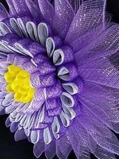 Spring Purple White Yellow Daisy Dahlia Zinnia Flower Deco Mesh Wreath Door Wall Home Decor 24 inch