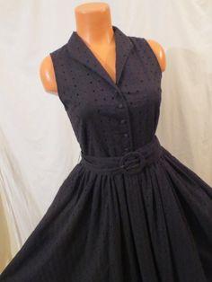 FABULOUS retro shirt-dress - black eyelet diamond H&M - $24.99 at JOHNNY BOMBSHELL #retro #rockabilly #shirtdress #vlv