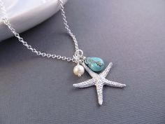 Starfish Necklace  Silver Beach Charm with Pearl and by IrinSkye, $24.00