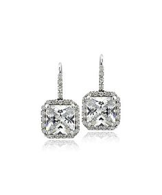 Loving this Cubic Zirconia & Silvertone Square Drop Earrings on #zulily! #zulilyfinds