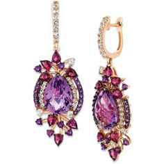 Le Vian Crazies Collection Multistone Drop Earrings in 14k Strawberry... ($2,448) ❤ liked on Polyvore featuring jewelry, earrings, no color, drop earrings, 14 karat gold jewelry, pink gold earrings, sparkle jewelry and 14 karat gold earrings