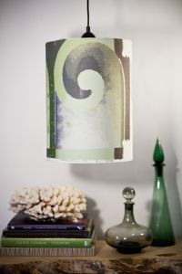 Gorgeous textile by Kassana Holden of Bergamot Studio made into a custom shade by Harold's Lighting in Seattle.