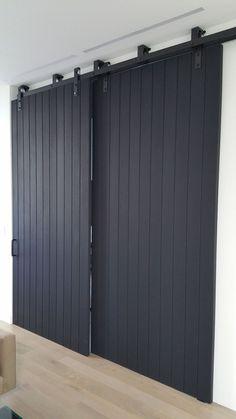 15 Trendy Large Sliding Barn Door In The House Double Sliding Doors, Double Barn Doors, Sliding Barn Door Hardware, Modern Barn Doors, Ikea Sliding Door, Sliding Cupboard, Sliding Door Design, Inside Barn Doors, Cupboard Doors