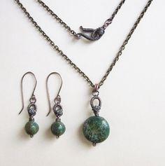 Set with jasper - earrings and pendant from EyeBright by DaWanda.com
