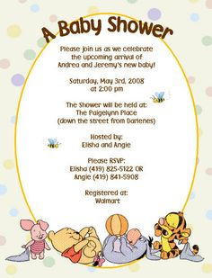 Baby Winnie the Pooh Invitations by DesignsbySuzan on Etsy, $0.55