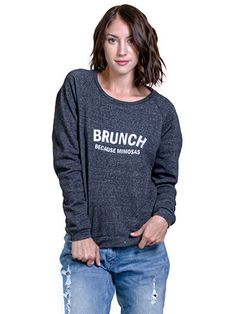 "Women's ""Mimosas"" Sweater by Nala Los Angeles (Eco Blackl) #InkedShop #brunch #Mimosa #sweatshirt"
