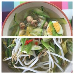 Vietnamese kip pho met courgettenoedels (blz 66 Hemsley&Hemsley) bouillon getrokken van kaneelstokje, twee uien, duim gemberwortel, 2 tenen knoflook, 2 eetlepels vissaus, 4 kruidnagels, 2 anijssterren, noedels van courgettes, sperziebonen en kipfilets, daarna met verse citroensap, bosui, taugé en rode peper gegarneerd