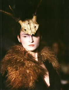 "mylovingthings:  Headpiece by Philip Tracy for Alexander McQueen Autumn/Winter 1996 ""Dante"" Apart from the marvellous clothing inspired by the ""awareness of death"", Dante was also the first time that McQueen revealed his love for headwear. Models were sent down the runway with masks decorated with crucifixes, jet crusted head pieces and stag horn antlers."