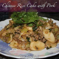 Chinese Rice Cake with Pork & Chinese Greens
