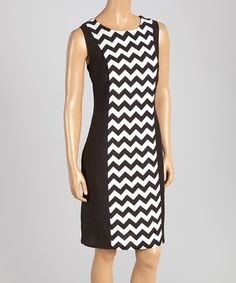 Black & White Chevron Sleeveless Dress | zulily