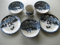 Folk Craft WOLF by Tienshan mix lot cup, bowls, plates