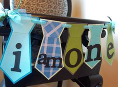 Mustache Bash/Little Man Party I am ONE highchair by picassothedog, $13.00 easy (make with scrap book paper and ribbon)